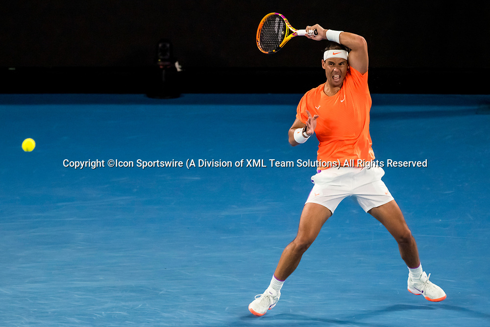 MELBOURNE, VIC - FEBRUARY 17: Rafael Nadal of Spain returns the ball during the quarterfinals of the 2021 Australian Open on February 17 2021, at Melbourne Park in Melbourne, Australia. (Photo by Jason Heidrich/Icon Sportswire)