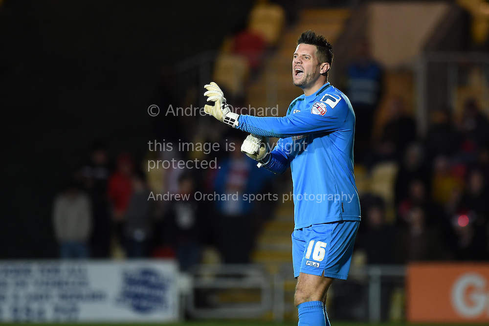 Chris Day, the Stevenage goalkeeper shouts his instructions. Skybet football league two match, Newport county v Stevenage at Rodney Parade in Newport, South Wales on Saturday 13th December 2014<br /> pic by Andrew Orchard, Andrew Orchard sports photography.