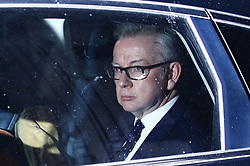 © Licensed to London News Pictures. 12/12/2018. London, UK. Environment Secretary Michael Gove is driven from Parliament . Prime Minister Theresa May is waiting to hear the result of a vote of confidence after 48 letters were received to trigger a ballot. Photo credit: Peter Macdiarmid/LNP