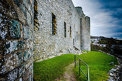 The walls of the great hall at Harlech Castle. Harlech Castle, located in Harlech, Gwynedd, Wales, is a medieval fortification, constructed atop a spur of rock close to the Irish Sea. It was built by Edward I during his invasion of Wales<br /> <br /> (c) Andrew Wilson   Edinburgh Elite media