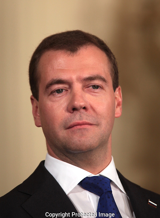 President Dmitry Medvedev of Russia at a joint statement and press conference in the East Room of the White House on June 24, 2010.  Photo by Dennis Brack