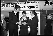 "Aer Lingus Young Scientist Exhibition..1986..10.01.1986..01.10.1986..10th January 1986..The annual Aer Lingus,sponsored,Young Scientists Exhibition was held at the RDS,Ballsbridge,Dublin.The Overall winners of the competition were Ms Breda Maguire and Ms Niamh Mulvany..They are students at The Rosary College,Raheny,Dublin. The Tanaiste, Mr Dick Spring TD was on hand to present the awards...Photograph shows Ms Breda Maguire,Edenmore Grove,Raheny and Ms Niamh Mulvany,Buttercup Park,Darndale being presented with their award by Tanaiste Mr Dick Spring TD. Breda and Niamh won the coveted title of ""Young Scientists Of The Year""."