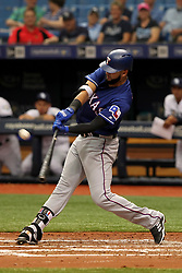 April 18, 2018 - St. Petersburg, FL, U.S. - ST. PETERSBURG, FL - APR 18: Nomar Mazara (30) of the Rangers at bat during the MLB regular season game between the Texas Rangers and the Tampa Bay Rays on April 18, 2018, at Tropicana Field in St. Petersburg, FL. (Photo by Cliff Welch/Icon Sportswire) (Credit Image: © Cliff Welch/Icon SMI via ZUMA Press)