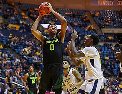 Jan 21, 2019; Morgantown, WV, USA; Baylor Bears forward Flo Thamba (0) shoots in the lane during the first half against the West Virginia Mountaineers at WVU Coliseum. Mandatory Credit: Ben Queen-USA TODAY Sports