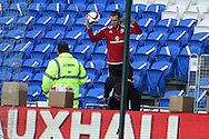 Gareth Bale of Wales gets his ball back from the stand  during Wales football team training session at the Cardiff city stadium  in Cardiff, South Wales  on Monday 12th October 2015. The team are training ahead of their final Euro 2016 qualifying against Andorra tomorrow.<br /> pic by  Andrew Orchard, Andrew Orchard sports photography.