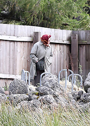 EXCLUSIVE ***DO NOT BYLINE*** HRH Queen Elizabeth II stops her car to feed her horses on her way back from having lunch at a shooting party at Glen Clova in Balmoral, Scotland.<br /><br />24 September 2018.<br /><br />Please byline: ***DO NOT BYLINE***