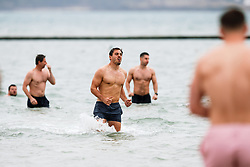 Jack Wallace looks on as Bristol Rugby take part in a morning after game recovery session in the sea - Rogan/JMP - 29/10/2017 - RUGBY UNION - Jersey Marine Lake - St Helier, Jersey - Jersey Reds v Bristol Rugby - Greene King IPA Championship.