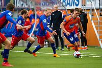 1. divisjon fotball 2018: Aalesund - Tromsdalen. Aalesunds Holmbert Fridjonsson (t.h.) i førstedivisjonskampen i fotball mellom Aalesund og Tromsdalen på Color Line Stadion.