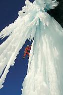Urs Odermatt in an ice fall, Brunnital, Uri, Switzerland