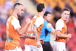 January 18, 2018 - Brisbane, QUEENSLAND, AUSTRALIA - Ivan Franjic of the Roar (#77, left) celebrates with team mates after scoring a goal during the round seventeen Hyundai A-League match between the Brisbane Roar and the Perth Glory at Suncorp Stadium on January 18, 2018 in Brisbane, Australia. (Credit Image: © Albert Perez via ZUMA Wire)