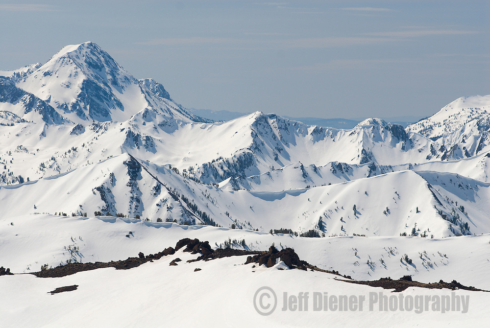 High peaks and ridgelines of the Wallowa Mountains.  Eagle Cap Wilderness Area, Oregon.