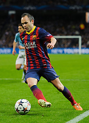 Barcelona Midfielder Andres Iniesta (ESP) in action - Photo mandatory by-line: Rogan Thomson/JMP - Tel: 07966 386802 - 18/02/2014 - SPORT - FOOTBALL - Etihad Stadium, Manchester - Manchester City v Barcelona - UEFA Champions League, Round of 16, First leg.