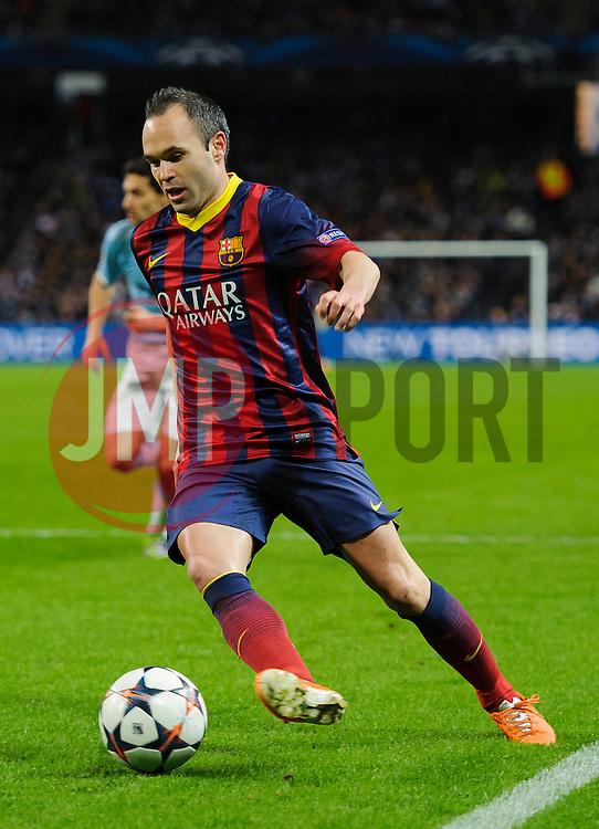 Barcelona Midfielder Andres Iniesta (ESP) in action - Photo mandatory by-line: Rogan Thomson/JMP - Tel: 07966 386802 - 18/02/2014 - SPORT - FOOTBALL - Etihad Stadium, Manchester - Manchester City v Barcelona - UEFA Champions League, Round of 16, First leg.
