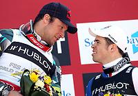 Alpint<br /> VM 2011<br /> Garmisch Partenkirchen Tyskland<br /> 14.02.2011<br /> Foto: Gepa/Digitalsport<br /> NORWAY ONLY<br /> <br /> FIS Alpine Ski-Weltmeisterschaften 2011, Superkombination der Herren, Slalom, Gudiberg. Bild zeigt Aksel Lund Svindal (NOR) und Peter Fill (ITA)