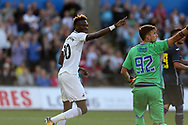 Tammy Abraham of Swansea city celebrates after he scores his teams 3rd goal. Swansea city v Sampdoria , pre-season friendly at the Liberty Stadium in Swansea, South Wales on Saturday August 5th 2017.<br /> pic by Andrew Orchard, Andrew Orchard sports photography.