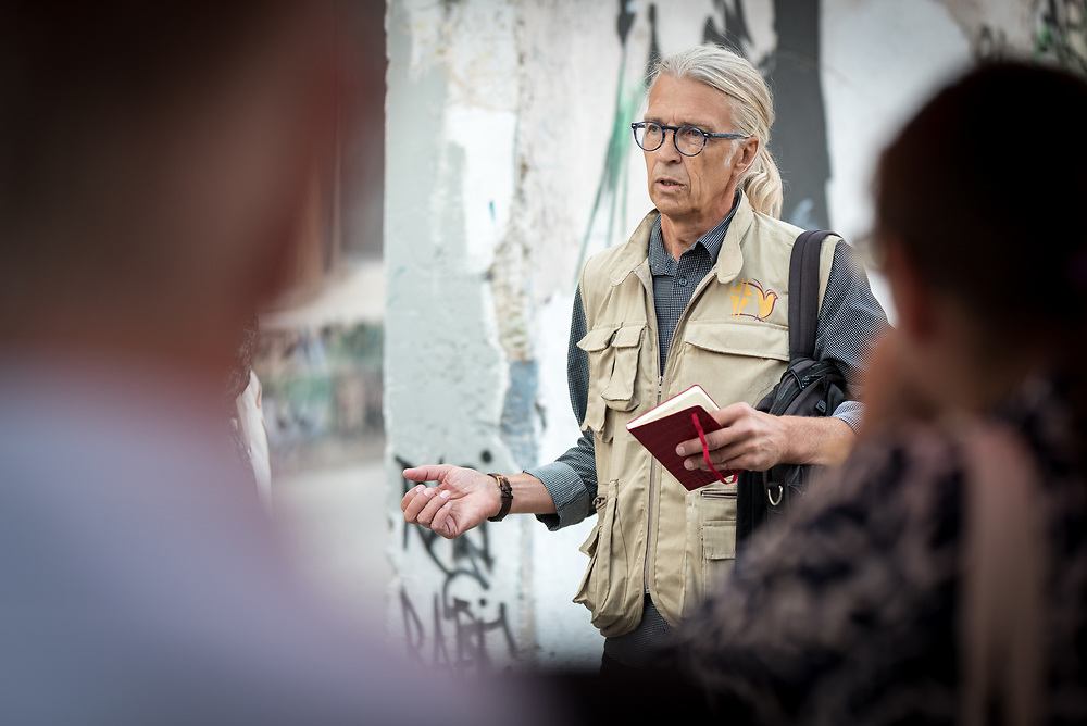 12 October 2018, Bethlehem, Occupied Palestinian Territories: Ecumenical Accompanier Hans from Sweden shows a group around in Bethlehem, in the Occupied Palestinian Territories. Hans is one of the participants in the World Council of Churches' Ecumenical Accompaniment Programme in Palestine and Israel.