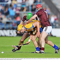 2 July 2011; John Conlon, Clare, in action against Adrian Cullinane, right, and David Burke, left, Galway. GAA Hurling All-Ireland Senior Championship, Phase 2, Galway v Clare, Pearse Stadium, Galway. Picture credit: Barry Cregg / SPORTSFILE