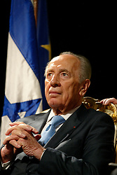 Israeli President Shimon Peres visits the Resistance and Deportation History Center in Lyon, France on March 12, 2008. Photo by Pascal Fayolle/Pool/ABACAPRESS.COM