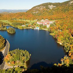 Lake Gloriette and the Balsams Grand Resort as seen from the cliffs above NH 26 in Dixville Notch, New Hampshire.