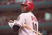 08 July 2011            Arizona Diamondbacks right fielder Justin Upton (10) on deck before batting. The Arizona Diamondbacks beat the St. Louis Cardinals 7-6 in the second game of a four game series on Friday July 8, 2011 at Busch Stadium in downtown St. Louis.