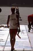 .Barcelona Olympic Games 1992.Olympic Regatta - Lake Banyoles.Atletes around the boating area..CAN Kathleen Heddle takes her blade to the pontoon. .       {Mandatory Credit: © Peter Spurrier/Intersport Images]..........       {Mandatory Credit: © Peter Spurrier/Intersport Images]..........       {Mandatory Credit: © Peter Spurrier/Intersport Images].........