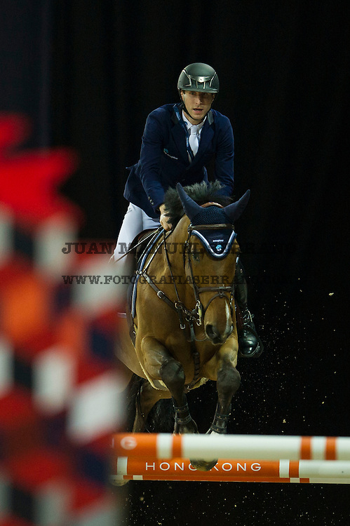 Pieter Devos on Espoir competes during Massimo Dutti Trophy  at the Longines Masters of Hong Kong on 21 February 2016 at the Asia World Expo in Hong Kong, China. Photo by Juan Manuel Serrano / Power Sport Images