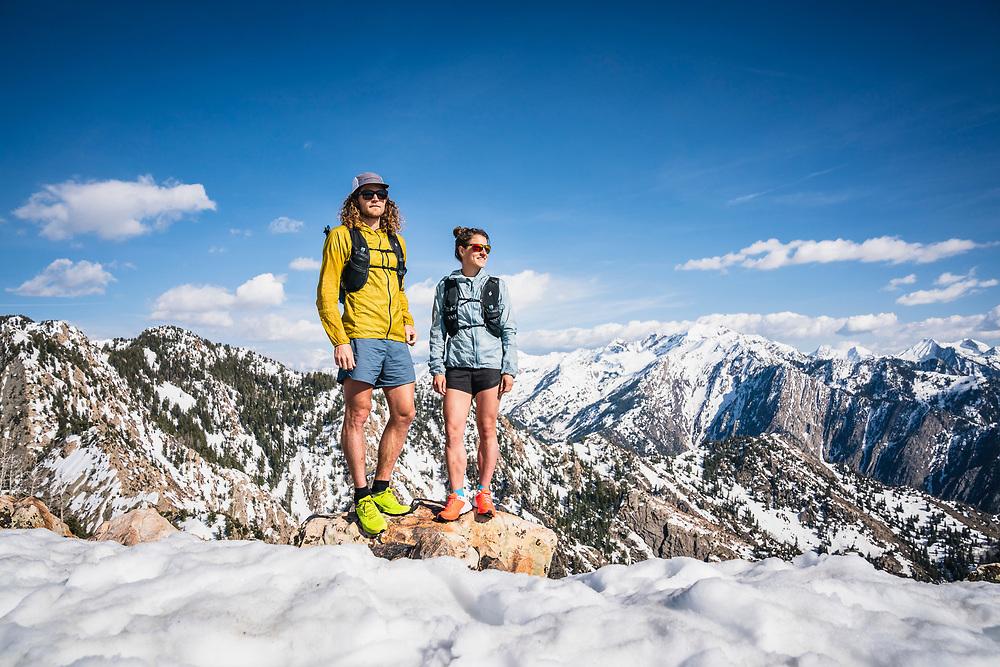 Joe Grant and Hillary Gerardi on the summit of Mount Olympus, Wasatch Range, Utah.