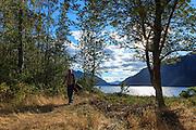 USA, Oregon, Columbia Gorge National Scenic Area, Viento State Park, tourist walking in Viento State Park. MR