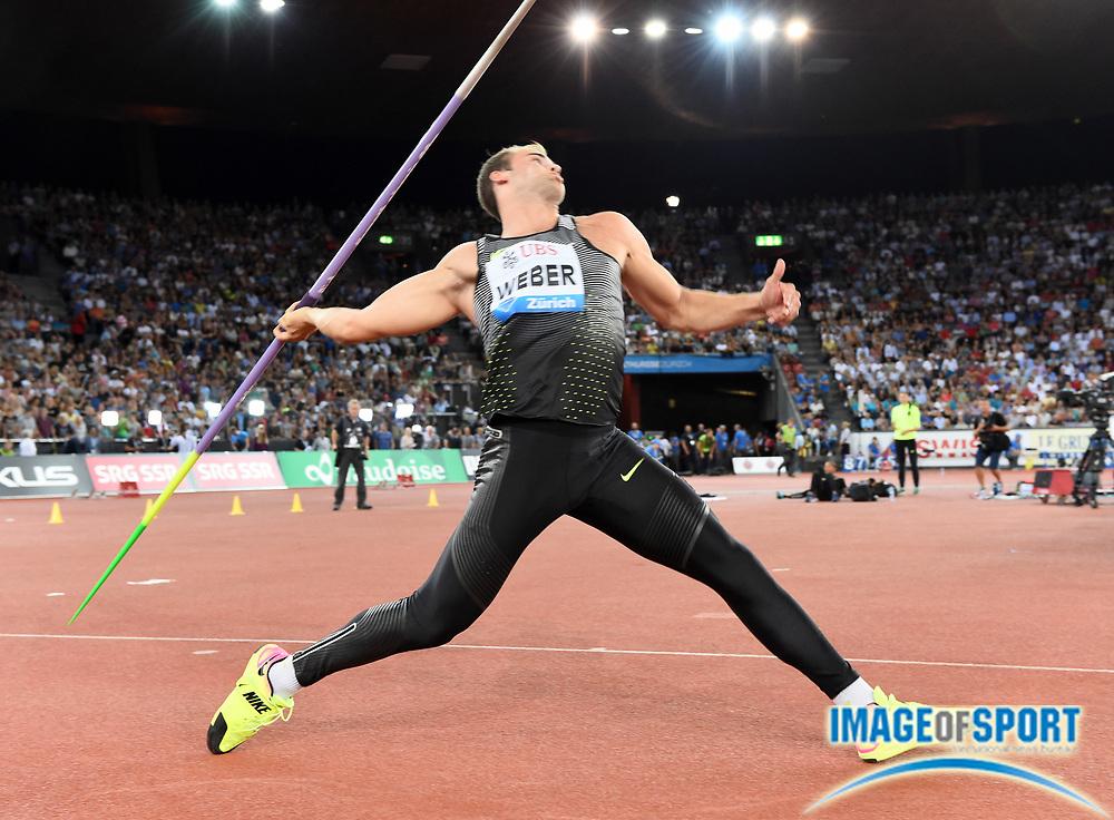 Sep 1, 2015; Zurich, SWITZERLAND; Julian Weber (GER) places third in the javelin at 276-6 (84.29m) at the 2016 Weltklasse Zurich during an IAAF Diamond League meeting at Letzigrund Stadium. Photo by Jiro Mochizuki