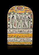 """Ancient Egyptian stele dedicated to Osiris by Neskhonsu,  Late Period, 25th Dynasty, (722-664 BC), Thebes, Cat 1596. Egyptian Museum, Turin. black background,<br /> <br /> The round topped stele dedicated by Osiris to Neskhonsu, daaughter of Nespernebu, """"gogs father"""" of Amon. Gifted by the Cairo Museum .<br /> <br /> If you prefer to buy from our ALAMY PHOTO LIBRARY  Collection visit : https://www.alamy.com/portfolio/paul-williams-funkystock/ancient-egyptian-art-artefacts.html  . Type -   Turin   - into the LOWER SEARCH WITHIN GALLERY box. Refine search by adding background colour, subject etc<br /> <br /> Visit our ANCIENT WORLD PHOTO COLLECTIONS for more photos to download or buy as wall art prints https://funkystock.photoshelter.com/gallery-collection/Ancient-World-Art-Antiquities-Historic-Sites-Pictures-Images-of/C00006u26yqSkDOM"""