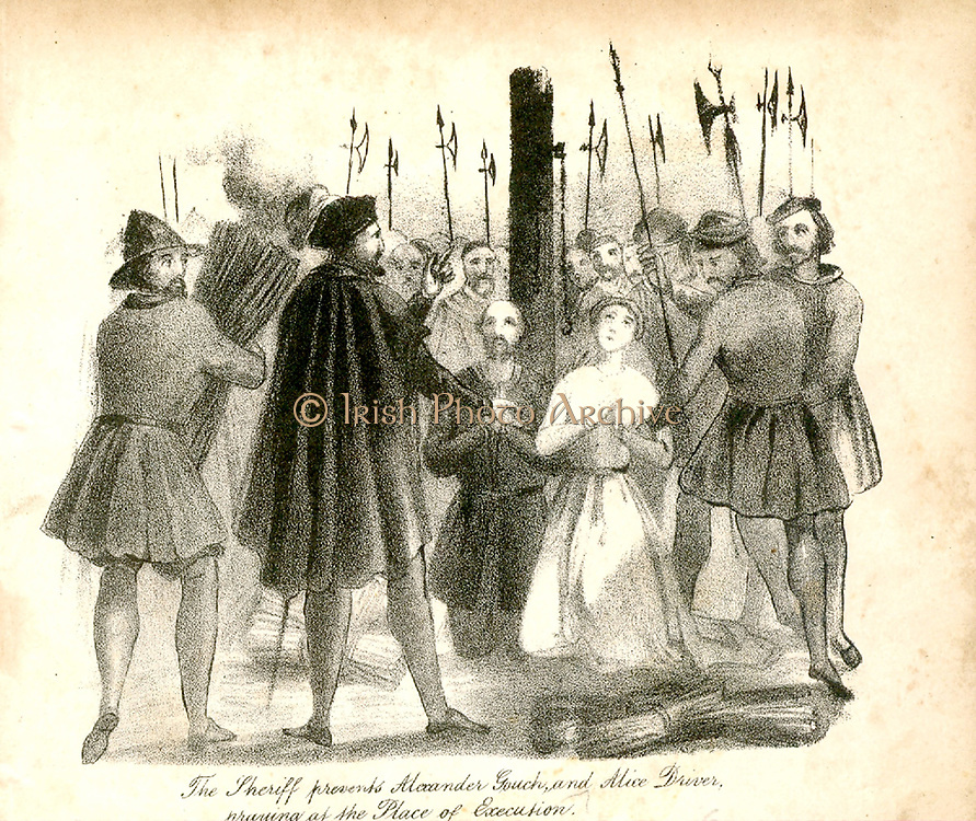 English Protestant Martyrs: Execution for heresy of Alexander Gooch and Alice Driver at Ipswich, Suffolk, England, 4 November 1558, only a fortnight before the death of Mary I. From 'Christian Martyrdom', London, 1838.