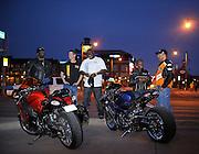 Tombo Racing crew at Bricktown in downtown Oklahoma City with Suzuki Hayabusa and custom GSXR-1000