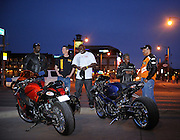 Tombo Racing crew at Bricktown in downtown Oklahoma City with Suzuki Hayabusa and custom GSXR-1000