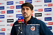 Reading manager Veljko Paunovic being interviewed by Sky Sports ahead of the EFL Sky Bet Championship match between Reading and Bristol City at the Madejski Stadium, Reading, England on 28 November 2020.