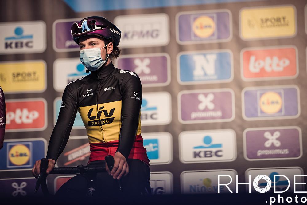 Belgian National Champion Lotte Kopecky (BEL/Liv Racing) pre race<br /> <br /> 13th Women's Omloop Het Nieuwsblad 2021 <br /> 1 Day Race: Gent – Ninove 124km<br /> <br /> ©Rhode.Photo