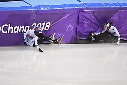 PYEONGCHANG, Feb. 22, 2018  South Korea's Choi Minjeong and Shim Sukhee fall out of track during women's 1000m final of short track speed skating at the 2018 PyeongChang Winter Olympic Games at Gangneung Ice Arena, Gangneung, South Korea, Feb. 22, 2018. (Credit Image: © Wang Song/Xinhua via ZUMA Wire)