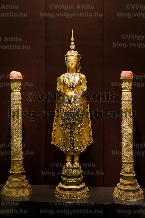 Replica of a golden statue on display at the entrance of the Southeast Gold Museum that presents hundreds of golden artifacts from the private collection of founder Istvan Zelnik in Budapest, Hungary on September 15, 2011. ATTILA VOLGYI