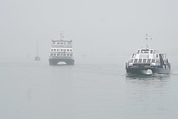 © Licensed to London News Pictures. 16/09/2021. Southampton, UK. Boats brave the fog at Southampton Port this morning. Photo credit: Ioannis Alexopoulos/LNP