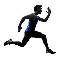 one caucasian runner sprinter running sprinting athletics man silhouette isolated on white background