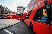 """Public transport got jammed in Trafalgar Square during a protest """"Save Afghanistan"""" outside Downing Street, Britain's PM Office in central London on Saturday, Aug 21, 2021. (VX Photo/ Vudi Xhymshiti)"""