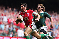 James Hook of Wales runs in to score his 1st half try. Wales v South Africa,    at Millennium Stadium in Cardiff on Sat 5th June 2010. pic by Andrew Orchard,  Andrew Orchard sports photography,