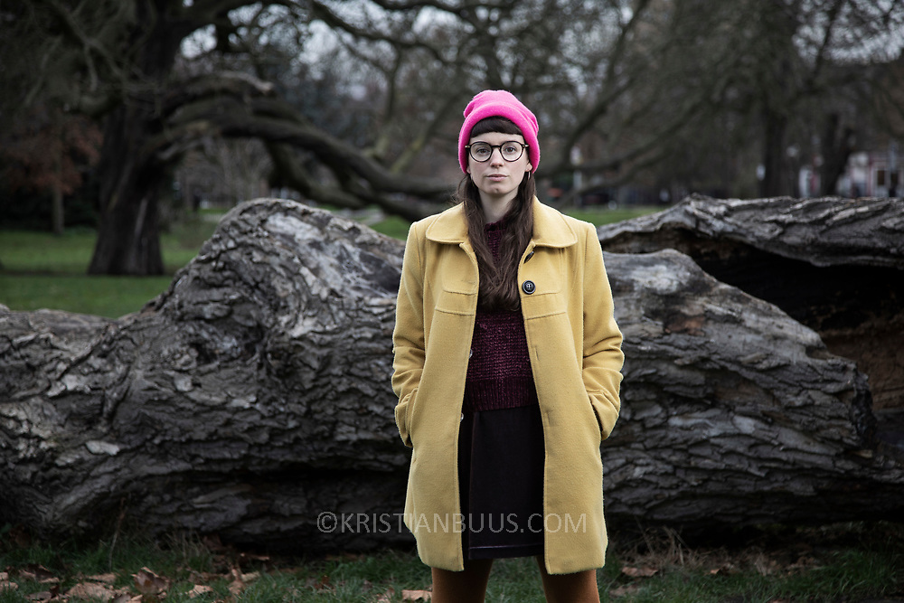 Laura Clayson, 28, from Whitstable. <br /> <br /> Divest-Invest Consultant to the NUS.<br /> <br /> Photographed in Clissold Park, near her home in North London.
