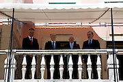 The three former presidents of Portugal, Jorge Sampaio (1996-2006), Mario Soares (1986-1996), Ramalho Eanes (1976-1986) and Cavaco Silva (first from left), current Portuguese President of the Republic, in the ceremonies of the 37 Anniversary of April 25. Date of the revolution in Portugal which destornou the dictatorial regime of Salazar and ordered democracy. Also known as the Carnation Revolution. 25/04/2011 NO SALES IN PORTUGAL