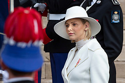 HSH Princess Charlene of Monaco is arriving to St Nicholas Cathedral before the solemn mass celebrated by the arcibishop Bernard Barsi, during the National Day ceremonies, Monaco Ville (Principality of Monaco), on November 19, 2019. Photo by Marco Piovanotto/ABACAPRESS.COM