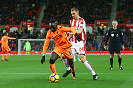 Sadio Mane of Liverpool gets away from Darren Fletcher of Stoke City. Premier league match, Stoke City v Liverpool at the Bet365 Stadium in Stoke on Trent, Staffs on Wednesday 29th November 2017.<br /> pic by Chris Stading, Andrew Orchard sports photography.