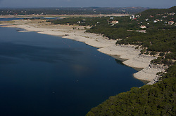 Lake Travis during drought conditions in Texas.