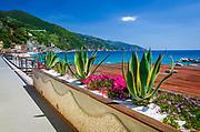 The beach and promenade at Monterosso al Mare, Cinque Terre, Liguria, Italy