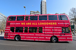 """© Licensed to London News Pictures. 29/03/2019. LONDON, UK.  Mayor of London, Sadiq Khan, launches a branded """"We are all Londoners"""" bus (pictured) as a it begins a four-day """"advice roadshow"""" across the capital.  Staff on the bus will visit locations with high numbers of European nationals, offering them guidance on how to apply for Settled Status to remain in the UK following Brexit.  The bus tour coincides with the opening of the Government's EU Settlement Scheme.  Photo credit: Stephen Chung/LNP"""