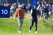 Justin Rose (Team Europe) and Dustin Johnson (Team USA) on the 10th during Saturday Foursomes at the Ryder Cup, Le Golf National, Ile-de-France, France. 29/09/2018.<br /> Picture Thos Caffrey / Golffile.ie<br /> <br /> All photo usage must carry mandatory copyright credit (© Golffile | Thos Caffrey)