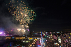 Fireworks from the castle esplanade at midnight, Edinburgh's Hogmanay Street Party, Sunday 31st December.